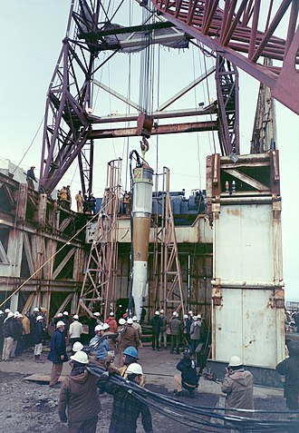 Amchitka - Cannikin warhead being lowered into test shaft
