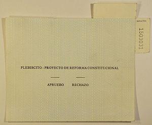 Chilean constitutional referendum, 1989 - Original ballot