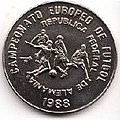 1 песо. Куба. 1988. Чемпионат Европы по футболу 1988, ФРГ. Удар.jpg