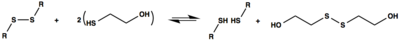 Reaction scheme for the cleavage of disulfide bonds by 2-mercaptoethanol