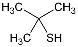 Strukturformel von 2-​Methyl-​2-​propanthiol