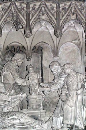 Judaizers - Circumcision of Jesus, sculpture in the Cathedral of Chartres.