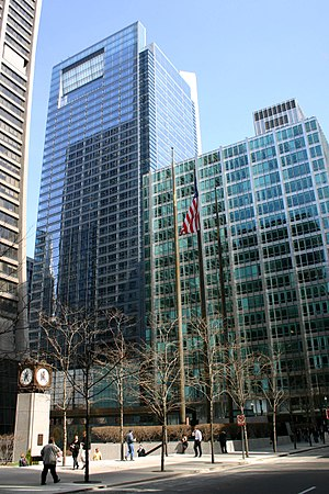 One South Dearborn - One South Dearborn (left) is located directly north of the Inland Steel Building (right)