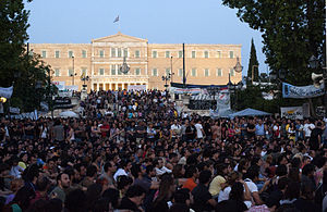 Anti-austerity movement in Greece - The People's Assembly in front of the parliament on 30 June.