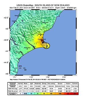 English: Canterbury earthquake intensity map