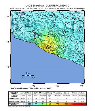 2014 Guerrero earthquake - Earthquake intensity map (USGS)