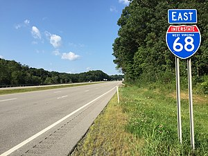 Interstate 68 - View east along I-68 in Preston County, West Virginia