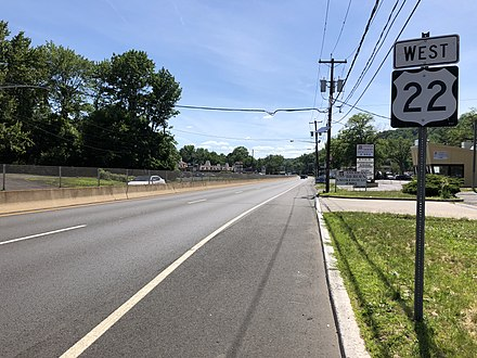 US 22 in Scotch Plains 2018-06-21 15 28 52 View west along U.S. Route 22 just west of Glenside Avenue in Scotch Plains Township, Union County, New Jersey.jpg