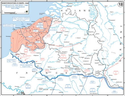 The Germans advance to the English Channel after 21 May 21May-4June Battle of Belgium.png