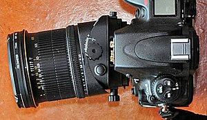 Nikon PC-E Nikkor 24mm f/3.5D ED - The 24mm PC-E lens shown in its tilt mode