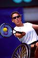261000 - Wheelchair tennis Daniela Di Toro forehand - 3b - 2000 Sydney match photo.jpg