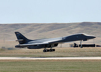 "Ellsworth Air Force Base - A B-1 Lancer from the 28th Bomb Wing practices ""touch and go"" procedures at Ellsworth Air Force Base"