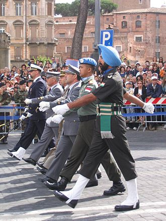 Military uniform - Italian, French, Spanish, Portuguese, Indonesian and Indian military personnel in uniform during a parade in Rome, Italy