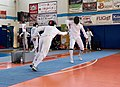 2nd Leonidas Pirgos Fencing Tournament. The fencer Dimitrios Makris is about to score a touch against the fencer Ahmed Alhoussain.jpg