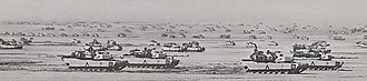Liberation of Kuwait campaign - Tanks from 3rd Armored Division Brigade along the Line of Departure.