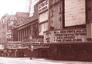 Grindhouse - 42nd Street in 1985 Times Square, showing the Lyric, one of several grindhouses at the time.