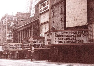 42nd Street (Manhattan) - Grindhouse movie theaters on 42nd Street in 1985 before its renovation; the 200 block of W. 42nd Street; former Lyric Theatre facade and nearby buildings