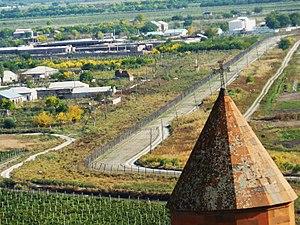 Khor Virap - Fenced border with Turkey.