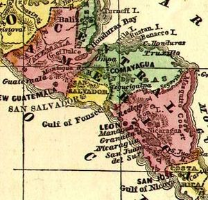 History of Honduras (1838–1932) - Detail of a 1860 map of Central America.
