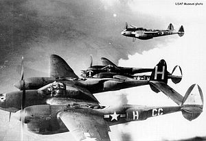 55th Operations Group - Lockheed P-38J-10-LO Lightning 42-67811 (CG-H) of the 38th Fighter Squadron.