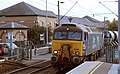 57 310 & 57 303 bring the Stowmarket-Clacton-Stowmarket RHTT working through Hythe station to a stop at Eastgates East Junction, before proceeding over the triangle towards Colchester North . Saturday 25th Oct 2014 2.jpg