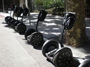 Five Segways parked near Transamerica Redwood ...