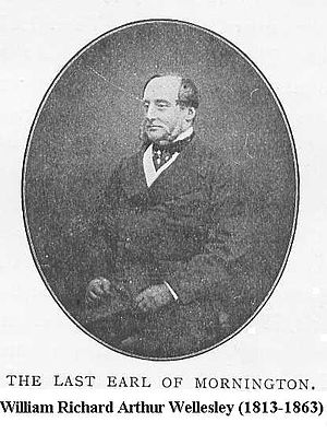 William Pole-Tylney-Long-Wellesley, 5th Earl of Mornington - Not in fact the last Earl, but the 5th. He was succeeded as the 6th Earl by the 2nd Duke of Wellington.