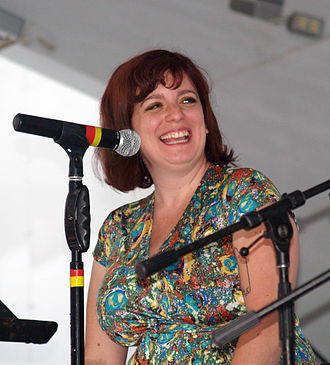 "Sara Benincasa - Benincasa moderating the ""Comedians as Authors"" panel at the 2014 Brooklyn Book Festival (age 33)."