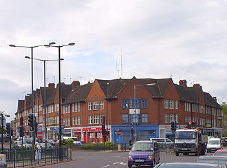 A1 in London - The A1 (Aylmer Road, left) diverging away from the original Great North Road (right)