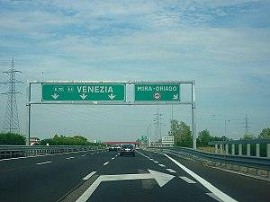 European route E70 - E 70 (national motorway A 57) near Mestre in Italy.
