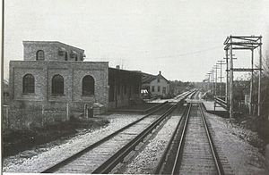 Lombard, Illinois - The former train station for the Chicago Aurora and Elgin Railroad, pictured in 1902.