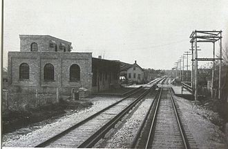 Lombard, Illinois - The former train station for the Chicago Aurora and Elgin Railroad at Main Street, pictured in 1902.