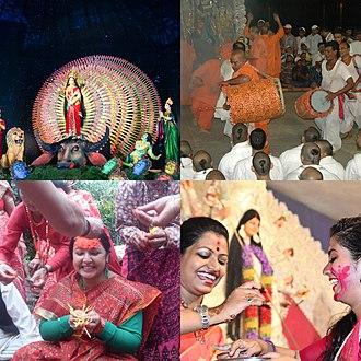 Durga - Durga festival images (clockwise from top): Durga puja pandal in Kolkata, dancing on Vijayadashami, women smearing each other with color, and family get together for Dasain in Nepal.