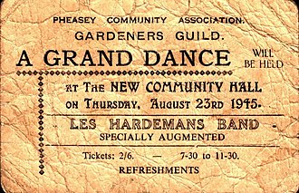 "Pheasey - Ticket for ""A Grand Dance"" at the then-new Community Hall, 1945"