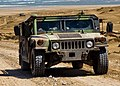 A Humvee assigned to the 24th Marine Expeditionary Unit leaves a camp on the beach at Cap Draa, Morocco, April 12, 2012, during African Lion 2012 120412-N-QM601-202 (cropped).jpg