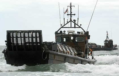 A Royal Marines Landing Craft Vehicle Personnel (LCVP) Mk5