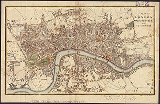 New Road, London - The New Road (top left) on an 1807 map before the construction of Regent's Park.
