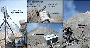 Mount Merapi - This image shows some of the instruments deployed by the Deep Carbon Degassing Project in the vicinity of Mount Merapi in 2014.