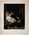 A sick young girl in bed being counselled by a nun while ano Wellcome V0015230.jpg