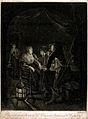 A sleeping woman being provoked by two men with tobacco pipe Wellcome V0019059.jpg
