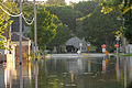 A vehicle checkpoint behind flooded streets in Cedar Rapids Iowa.jpg
