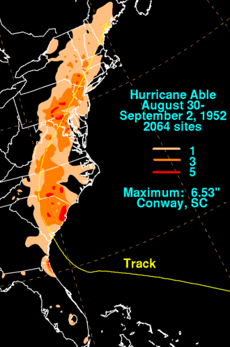 1952 Atlantic hurricane season - Image: Able 1952 rainfall