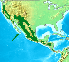 alt=Description de l'image Acorn Woodpecker Distribution Map.png.