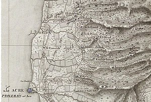 Tel Kabri - Ottoman period French survey map from 1799 showing the Upper Galilee. Kabri's springs are shown as being exploited by Akko.