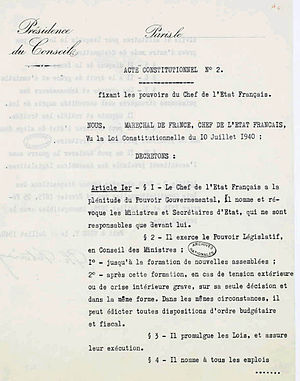 French Constitutional Law of 1940 - Act No 2, obverse.