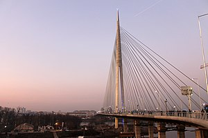 Cable-stayed bridge - Ada Bridge at dusk in Belgrade (Serbia)