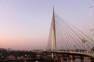 Cable-stayed bridge - Ada Bridge at dusk in Belgrade (Serbia)