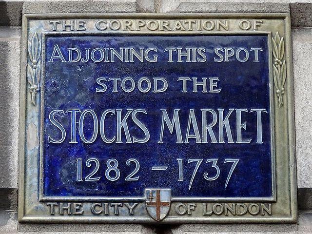 Stocks Market blue plaque - Adjoining this spot  stood the  Stocks Market  1282-1737