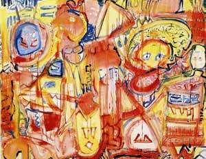 Adolf Bierbrauer - Adolf Bierbrauer, Desperate Search of the Inner Face, somnambulistic work, Acryic on canvas, 160 cm x 200 cm, 1999
