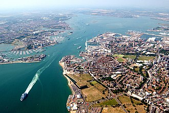 Portsmouth - Aerial view of Portsmouth and Portsmouth Harbour